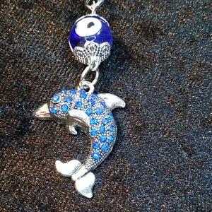 Accessories - Keychain Silver Dolphin Blue Rhinestones